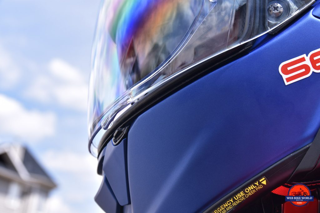 The Shoei GT Air II visor just barely open.