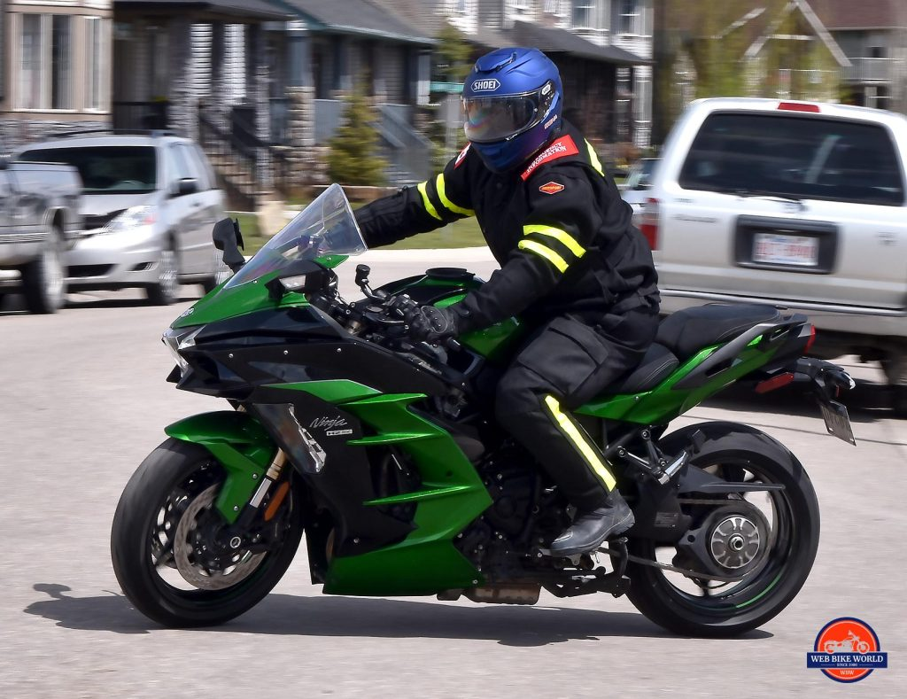 The Shoei GT Air II on the move.