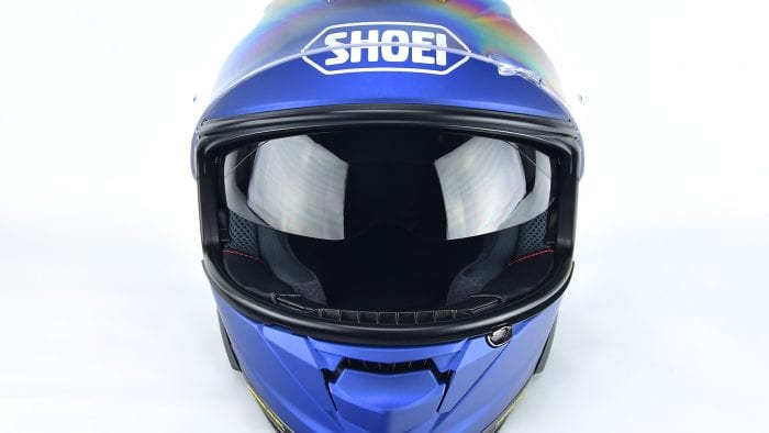 Internal sun lens fully lowered on The Shoei GT Air II.