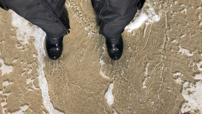 Me waterproof testing the Sidi Gavia Goretex boots.