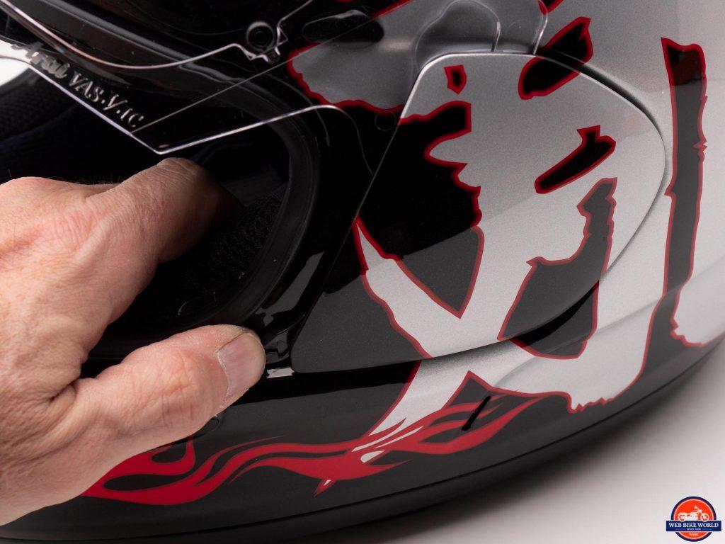 Arai Defiant-X Helmet visor removal lever