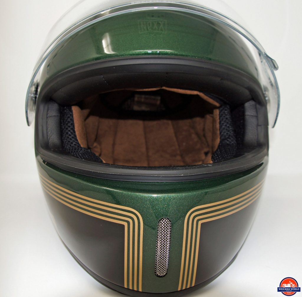 NEXX X.G100 Racer Motordrome Helmet frontal view with visor up