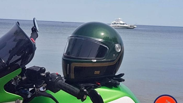 NEXX X.G100 Racer Motordrome Helmet featured on Kawasaki Motorcycle