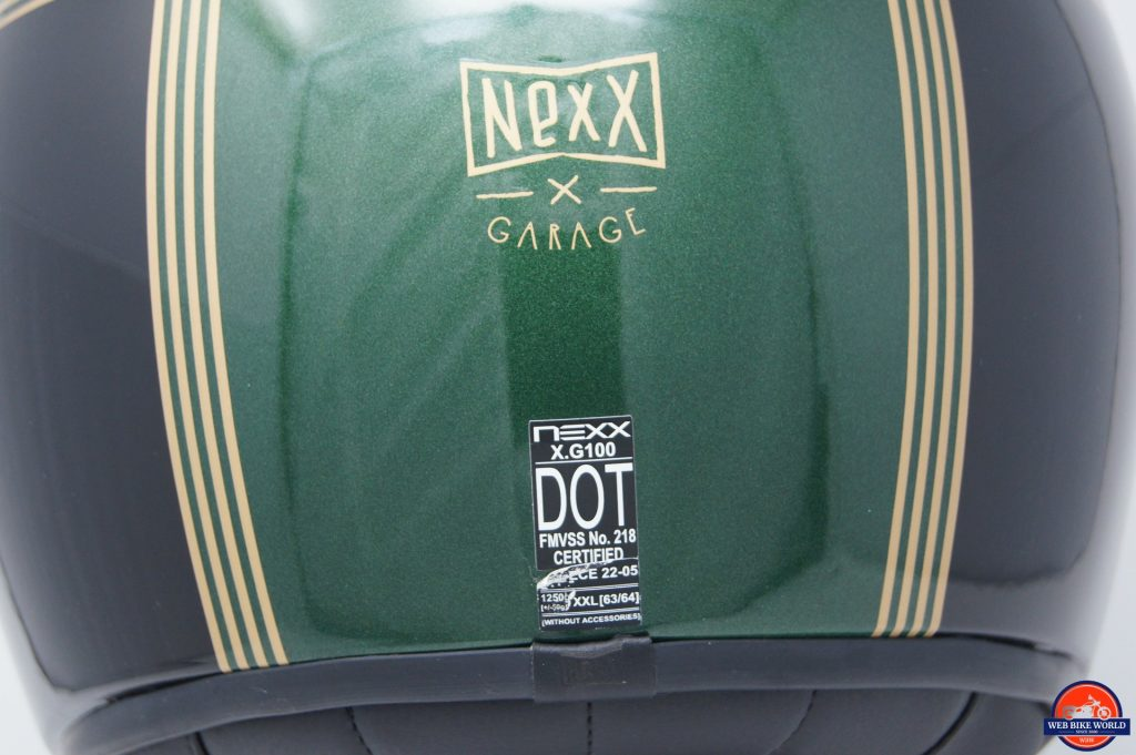 NEXX X.G100 Racer Motordrome Helmet rear view of DOT certification and logo