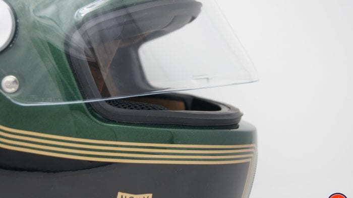 NEXX X.G100 Racer Motordrome Helmet profile view with visor slightly open