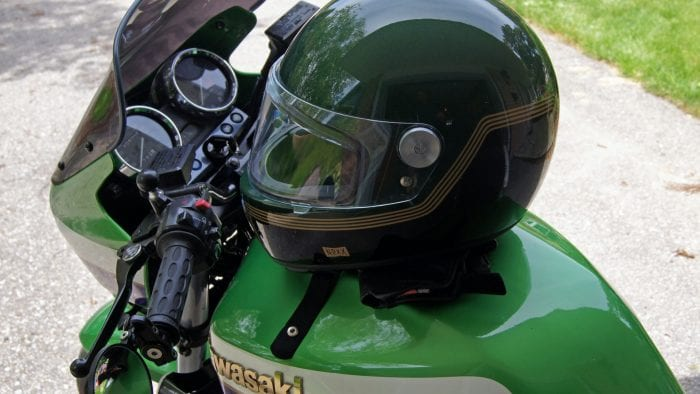 NEXX X.G100 Racer Motordrome Helmet side view on Kawasaki Bike