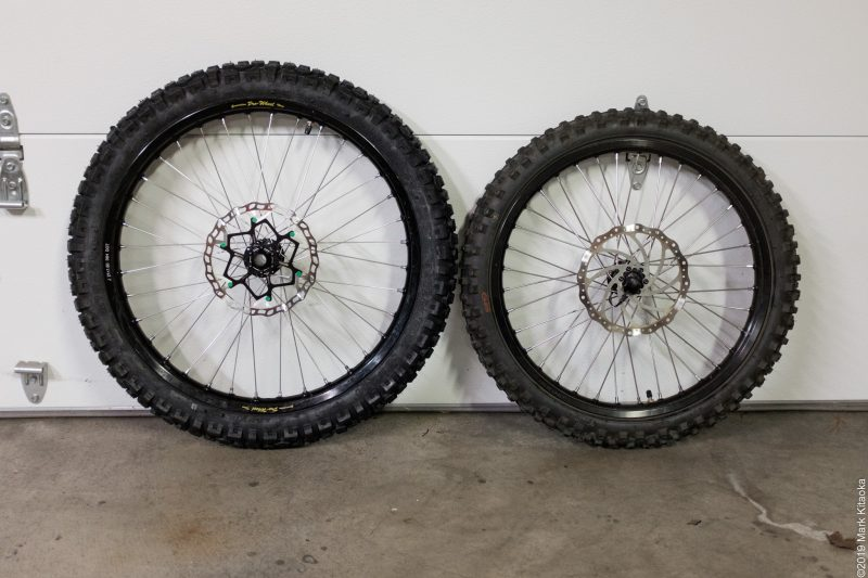 "Custom moto 21"" wheel on the left - OEM 19"" on the right"