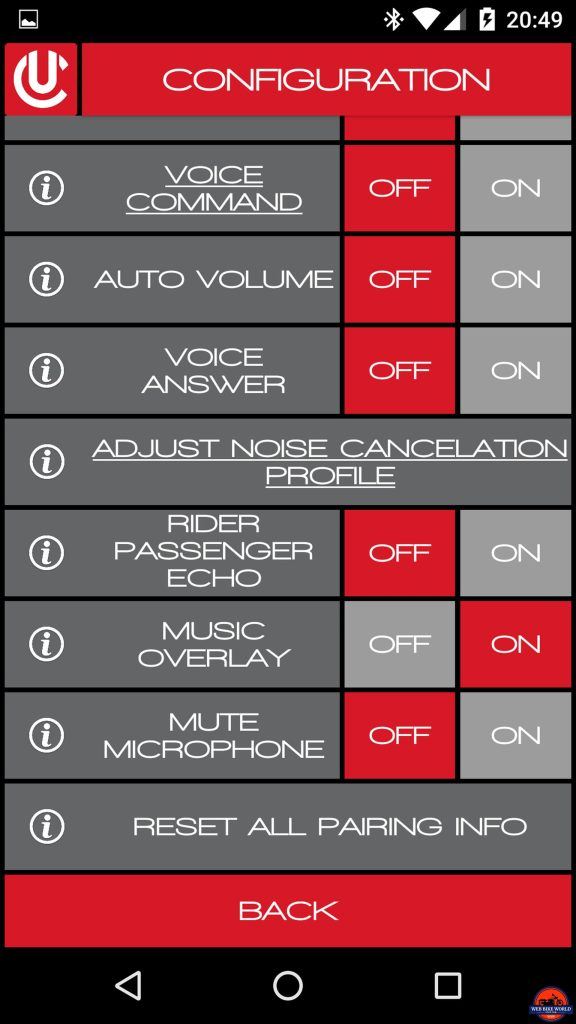 CLEARLink App, Adjust Noise Cancellation Profile, Sequence 1 of 3, Selection
