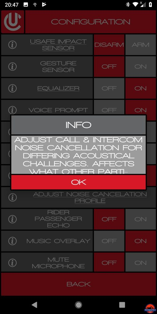 CLEARLink App, Adjust Noise Cancellation Profile, Sequence 2 of 3, Usage details