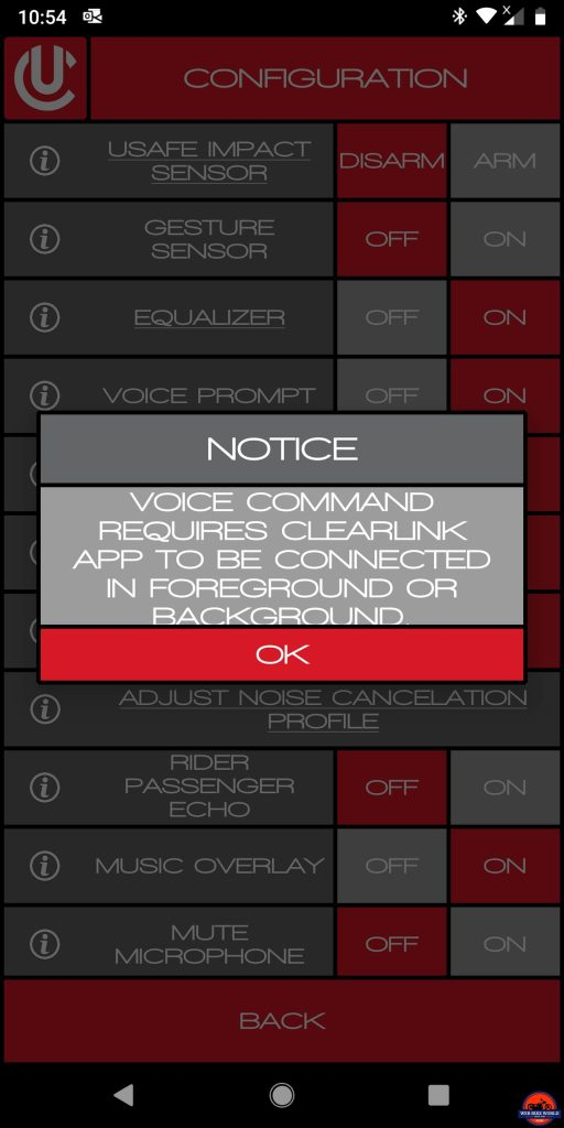 CLEARLink App, U-Command advisory message