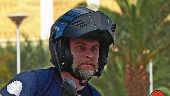 Me wearing the Simpson Mod Bandit helmet.