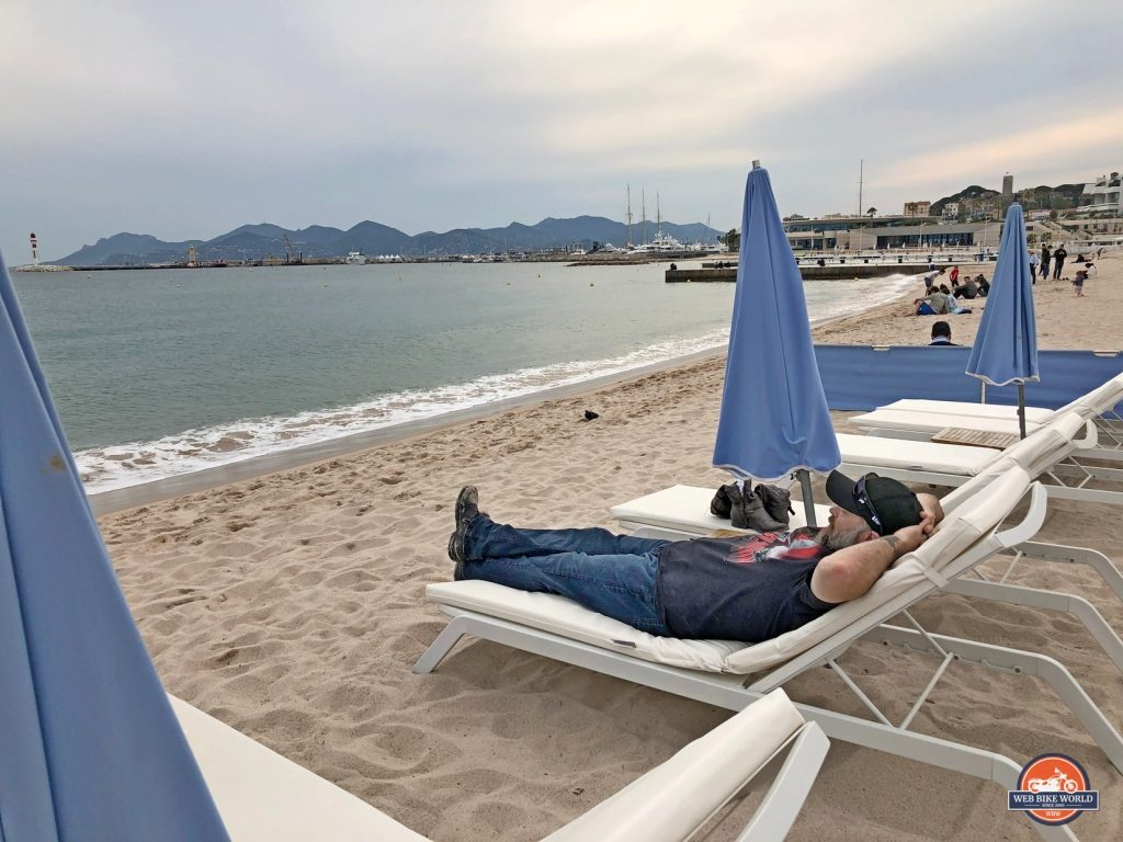 Me relaxing on the beach in Cannes.