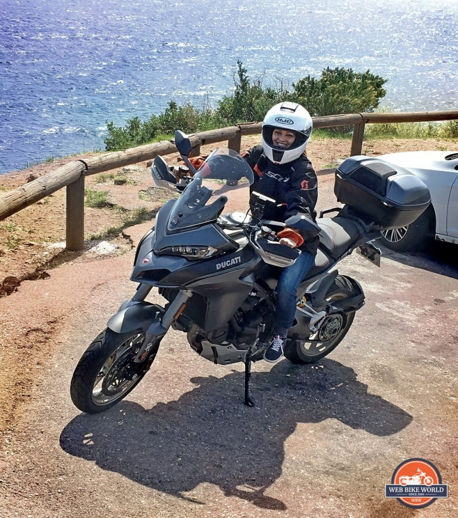 My friend Claudia on a 1260S Ducati Multistrada.