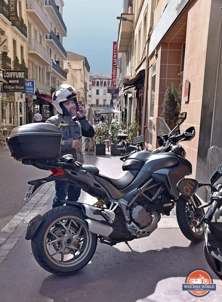 Me with a Ducati Multistrada 1260S in Cannes, France.