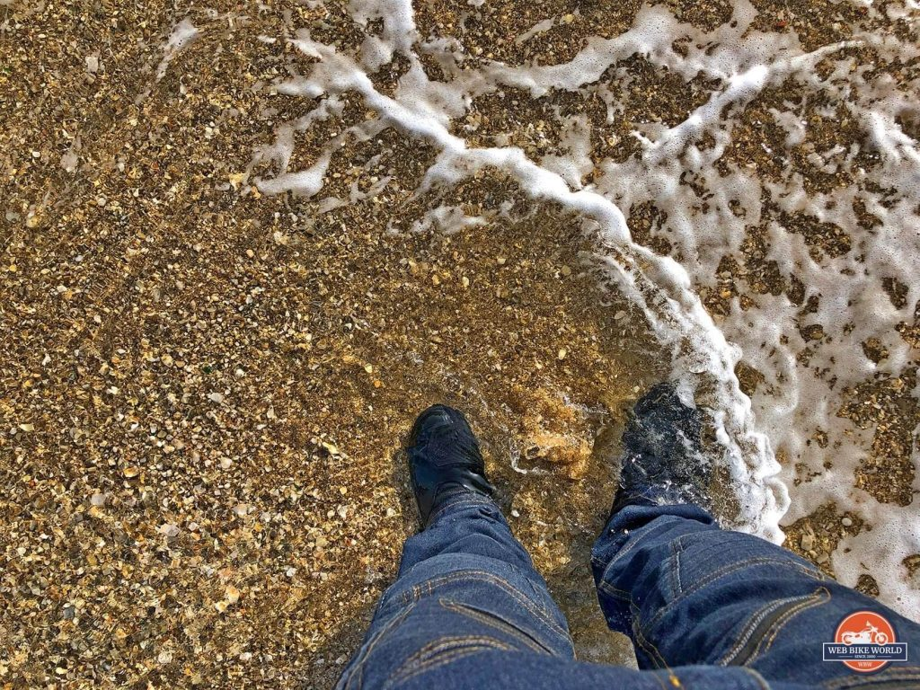 My Sidi Gavia riding boots in the Mediterranean Sea.