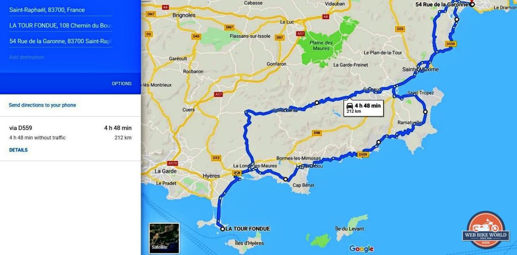 A map showing our route in southern france.