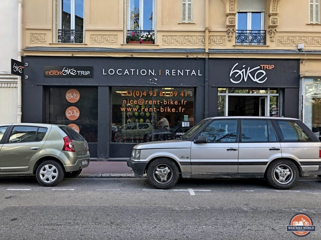 Storefront in Nice, France for Motorbike Trip Rental.