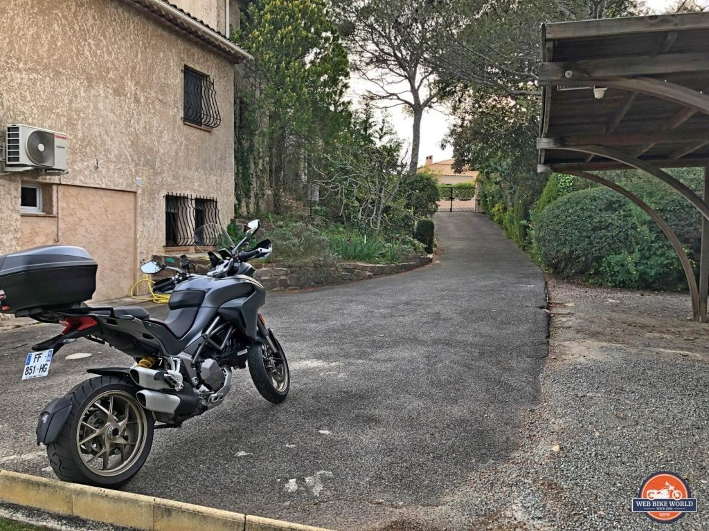 A 2019 Ducati Multistrada 1260S parked outside a villa in St. Raphael, France.
