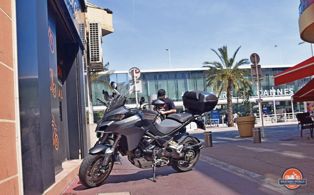 A Ducati Multistrada 1260S in Cannes at Motorbike Trip Rental.