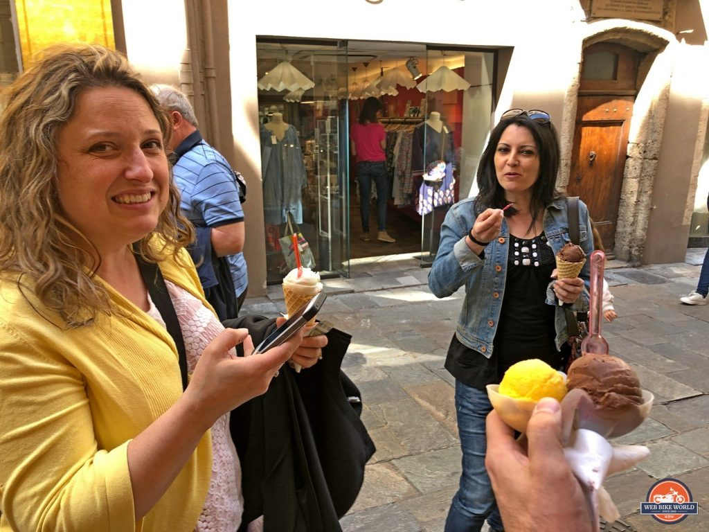 Eating gelato in Grasse, France.