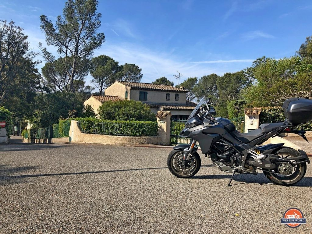 A St. Raphael neighbourhood in France with a Ducati Multistrada 1260S.