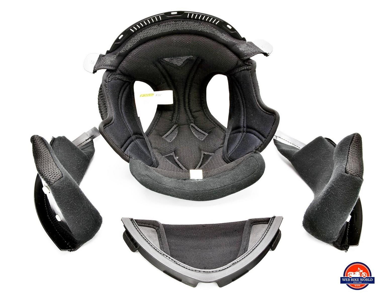 Klim K1R helmet interior padding.