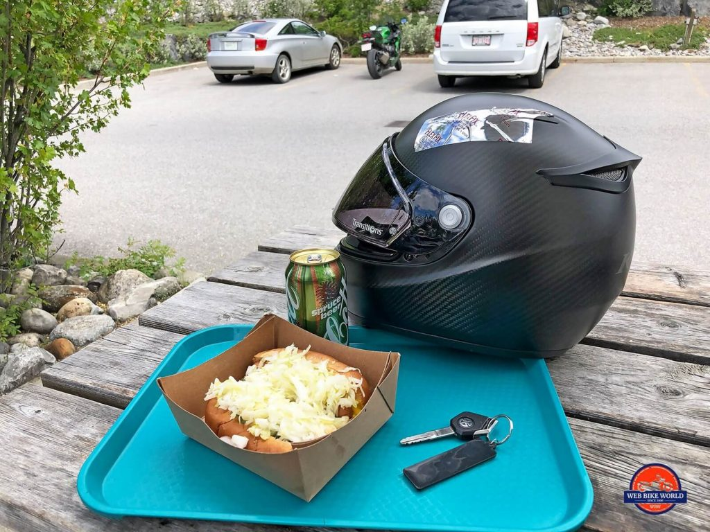The Klim K1R helmet with two steamies, a spruce beer in Canmore, Alberta.