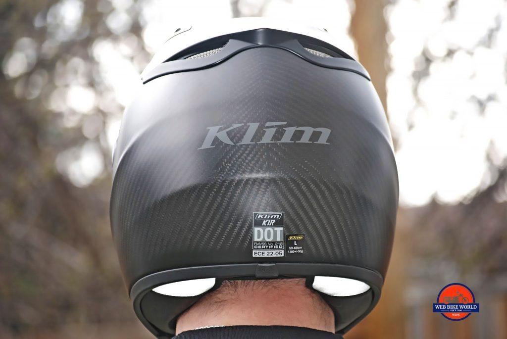 KLIM K1R Raw Karbon Helmet back view worn on Gerry
