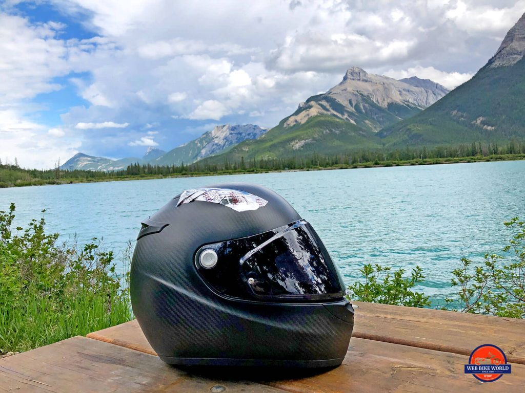 The Klim K1R helmet by a lake.