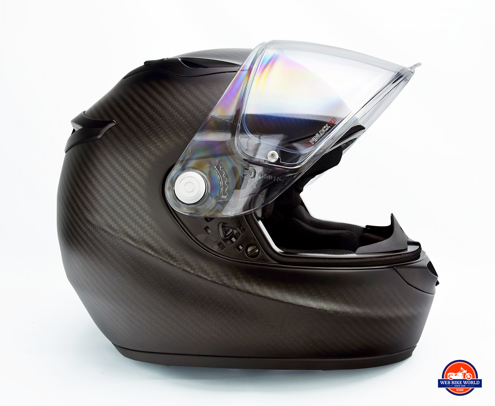 The Klim K1R helmet visor open.