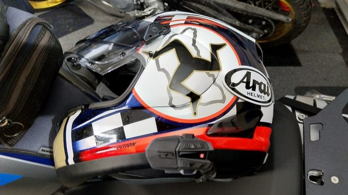 UClear Motion Infinity, Arai Corsair helmet, excellent audio