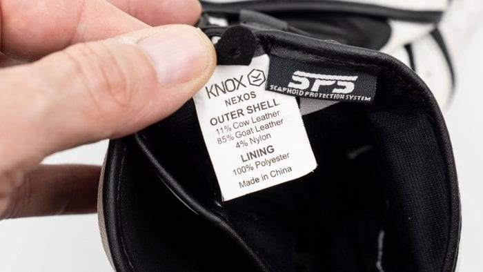 Knox Nexos Gloves interior info tag