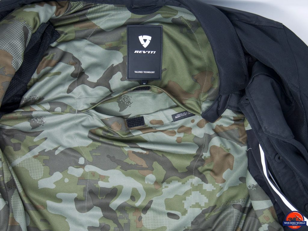 REV'IT! Tracer Air Overshirt interior liner showing back protector pocket