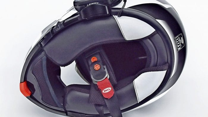 The Lexin FT4 installed in a Bell SRT Modular helmet.