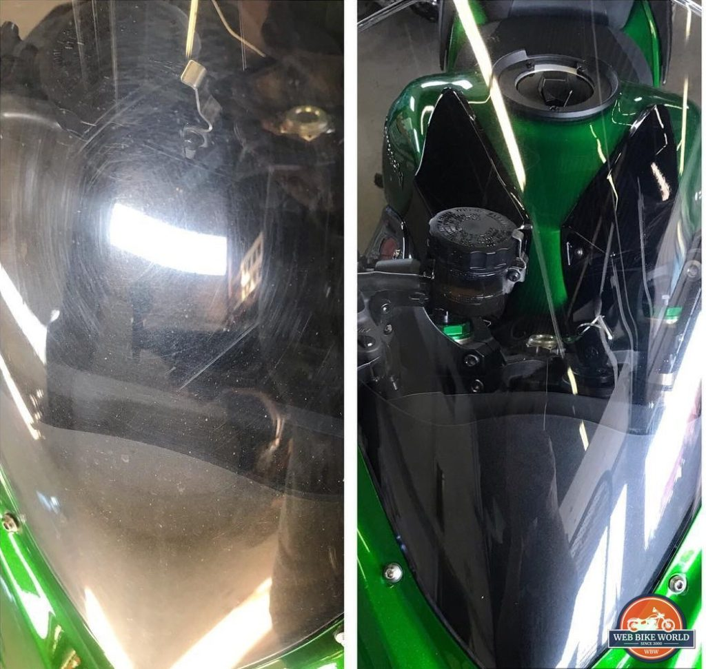 Before and after photo of my bike's windshield. Feynlab ceramic coating is on it now.