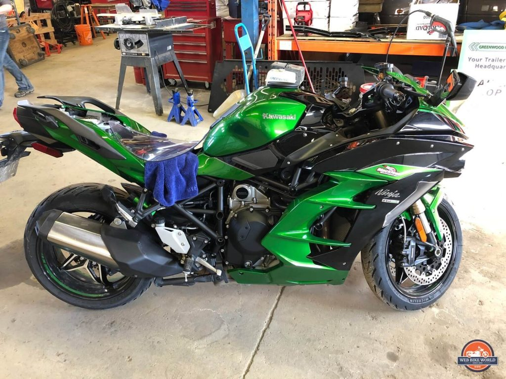 My Ninja H2SX SE being paint corrected before ceramic coating installation.
