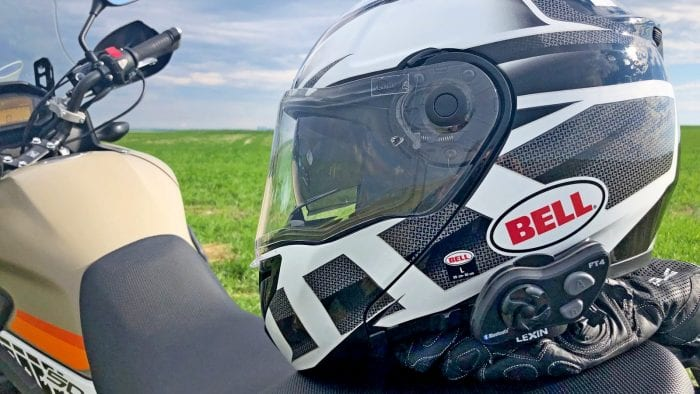 The Lexin FT4 installed on a Bell SRT Modular helmet.