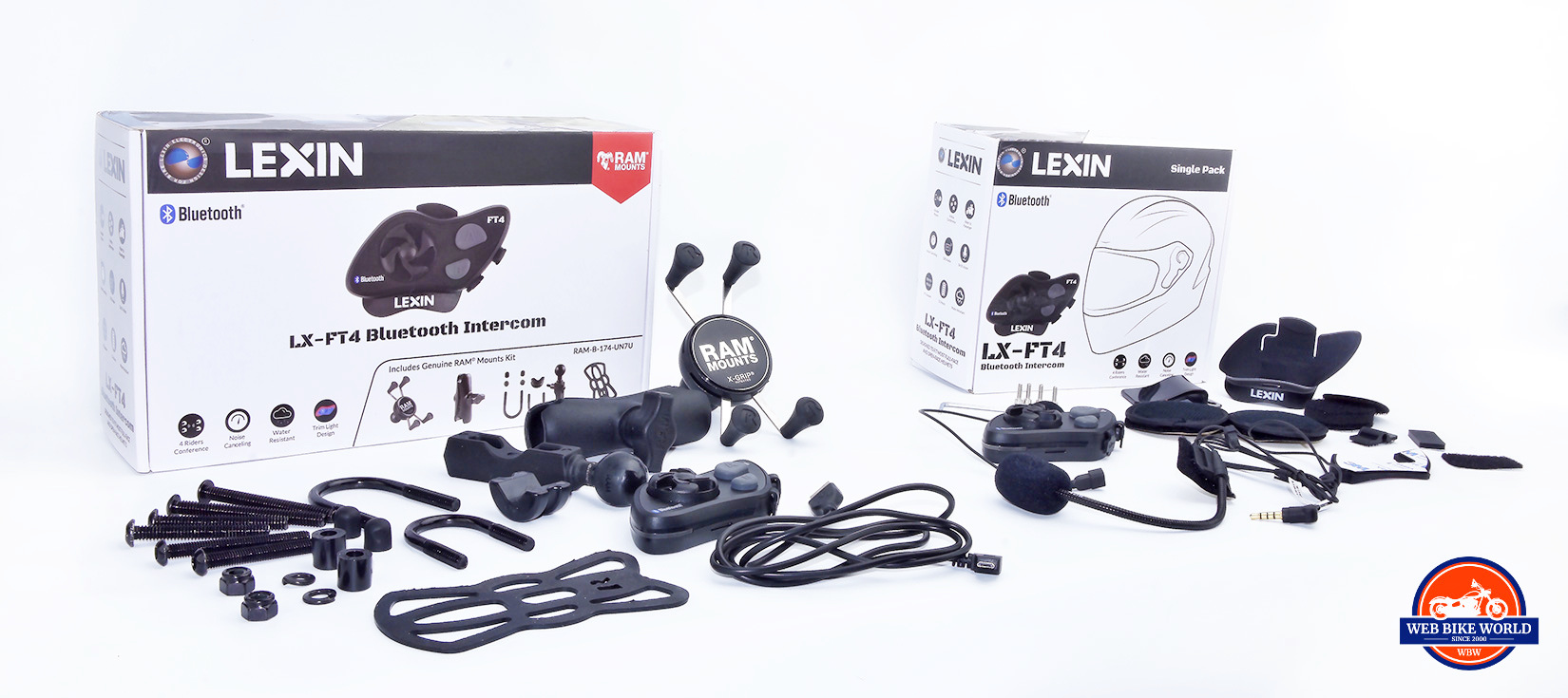 Lexin FT4 Communicator devices and a RAM Mounts X Grip.