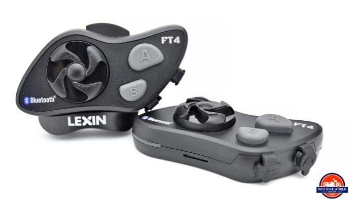 Two Lexin FT4 BlueTooth communication devices.
