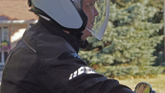 The SCHUBERTH M1 PRO with SC1M worn by Alan