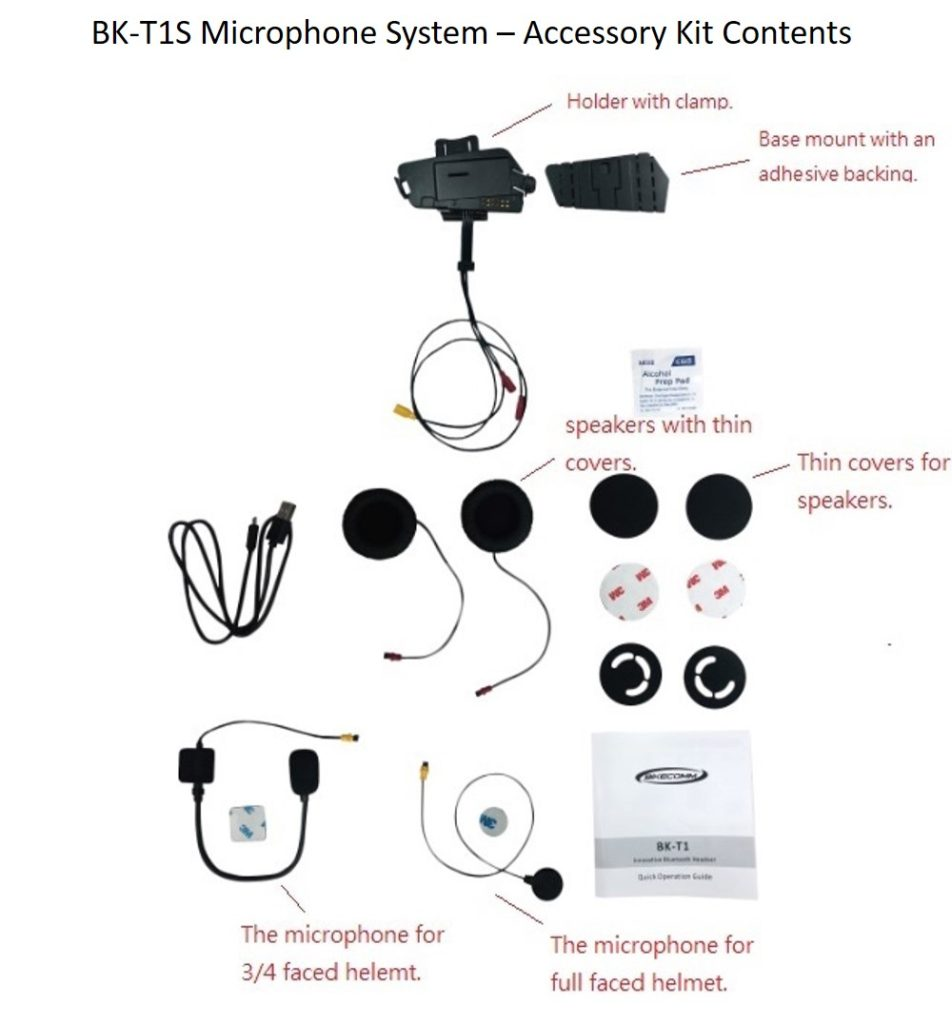 Bikecomm BK-T1 Bluetooth Headset - BK-T1S Accessory Kit