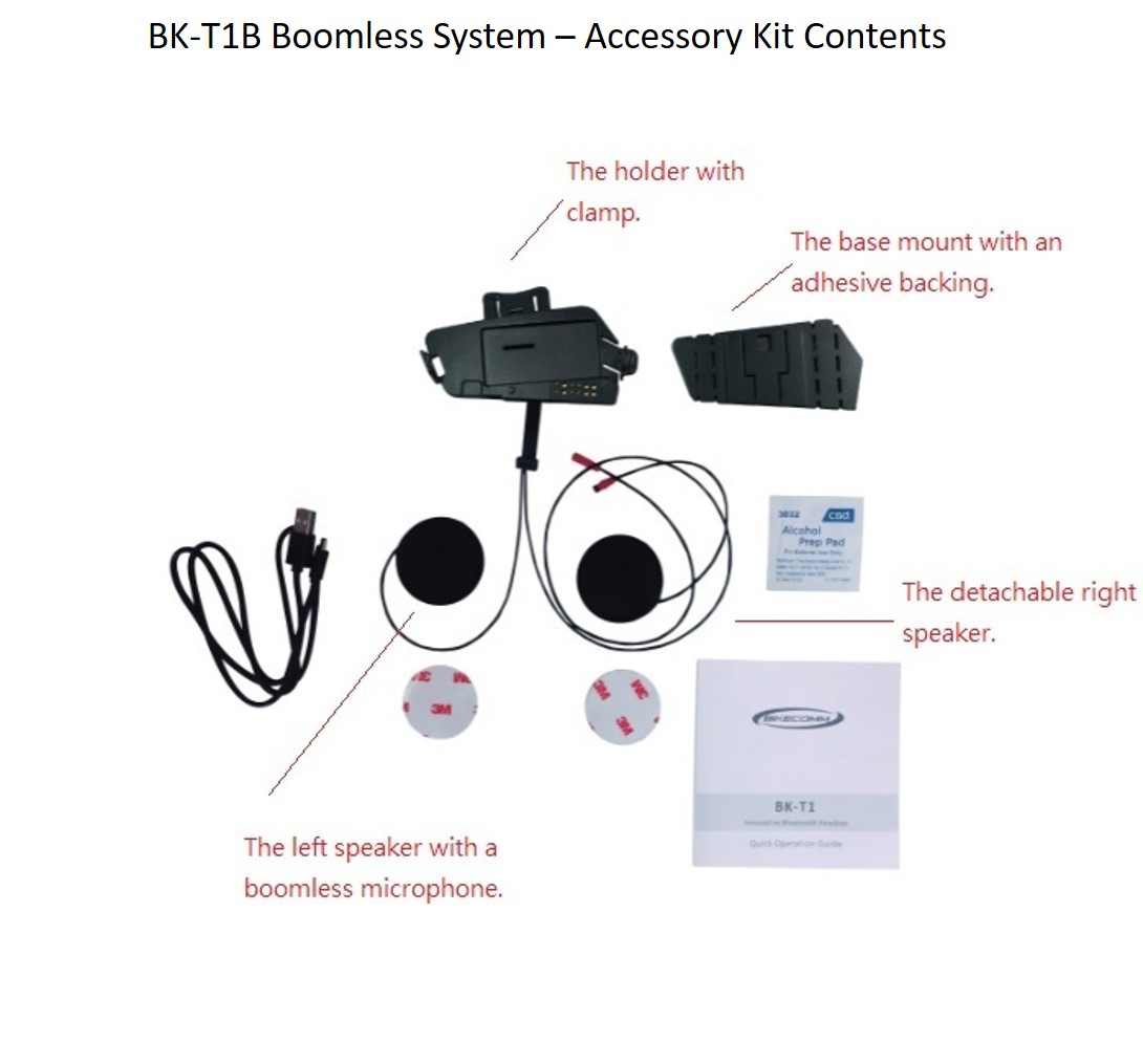 Bikecomm BK-T1 Bluetooth Headset - BK-T1B Accessory Kit