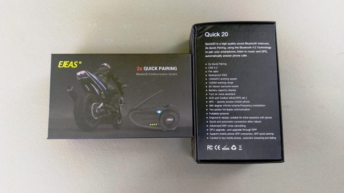 EJEAS Quick 20 Bluetooth Helmet System retail box specifications
