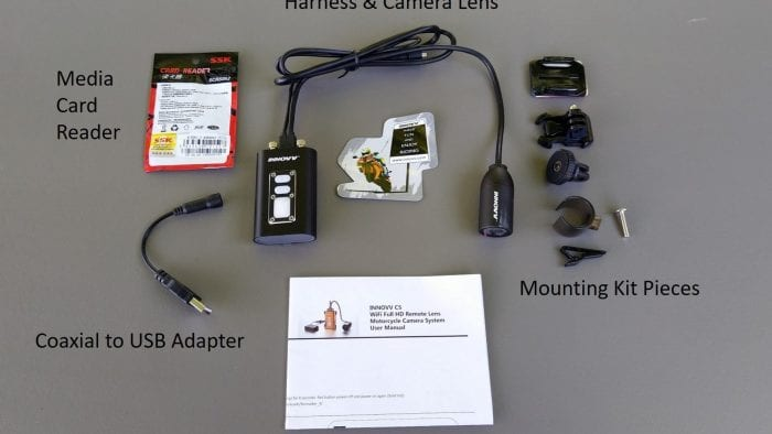 INNOVV C5 Helmet Camera - labeled kit contents