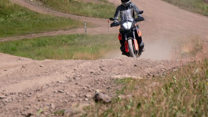 Me riding a KTM 790 Adventure wearing the Joe Rocket Canada Alter Ego 14.0 jacket.