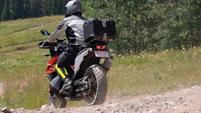 Me wearing the Joe Rocket Canada Alter Ego 14.0 jacket while riding a KTM 790 Adventure motorcycle.