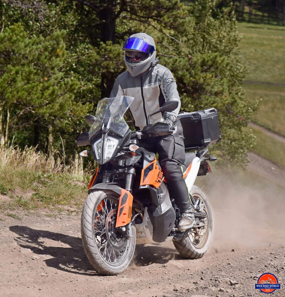 Me riding a KTM 790 Adventure motorcycle wearing the Joe Rocket Canada Alter Ego 14.0 jacket.