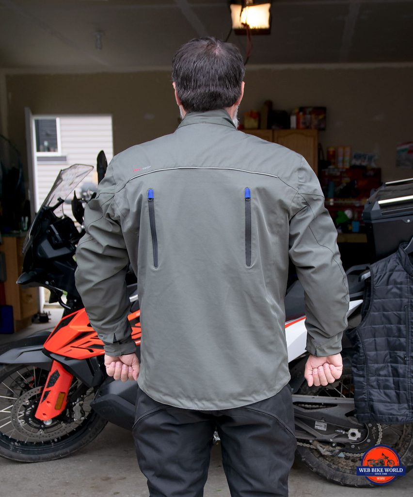 The rear air vents of the Joe Rocket Canada Alter Ego 14.0 jacket.
