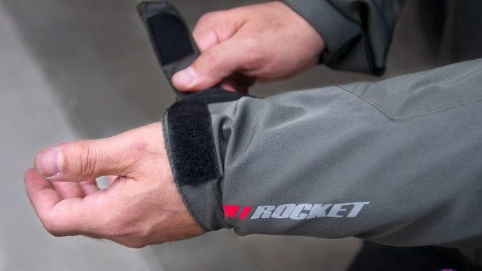 Wrist adjuster strap on the Joe Rocket Canada Alter Ego 14 jacket.