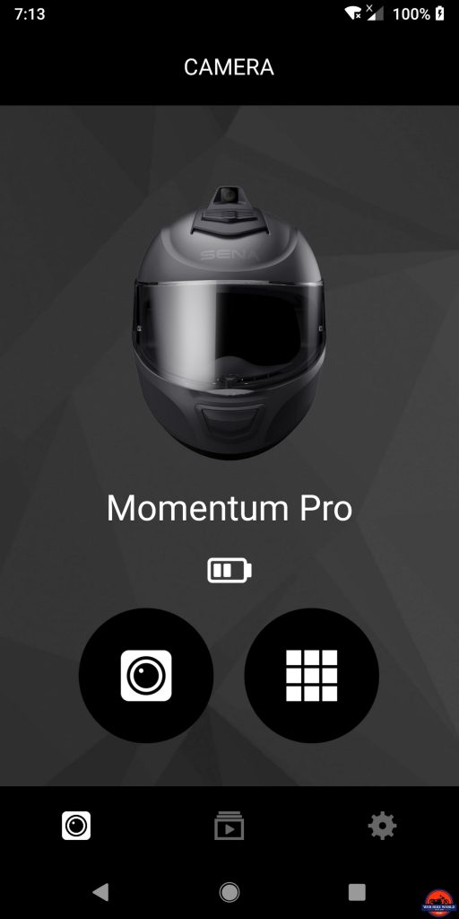 Sena Momentum Pro Helmet - Camera Model and Opening/Main Screen